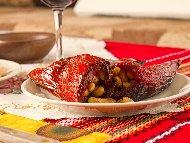 Пълнени постни сушени чушки с боб и лютеница за Коледната трапеза